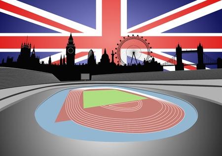 Stadion und Skyline von London