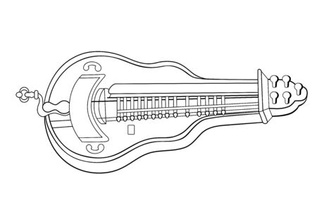 old musical instrument - hurdy-gurdy - vector Illustration