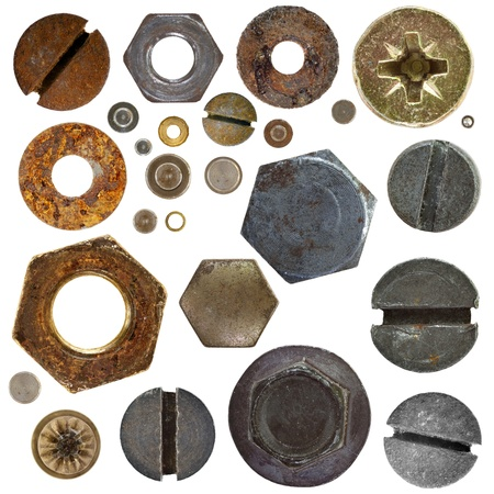 FERRETERIA: recolección de los frutos secos distintos remaches bolthead sobre fondo blanco Foto de archivo