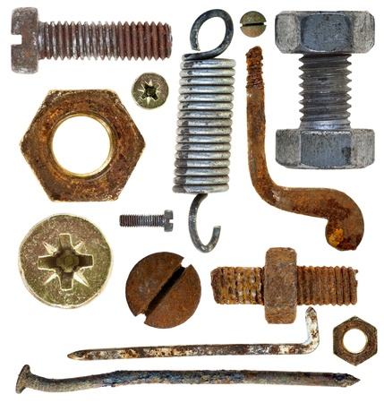 collection old rusty screws heads bolts nuts nails isolated on white background 版權商用圖片
