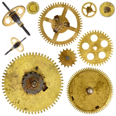 old cogwheels - gears - on white background