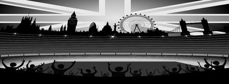 stadium with London skyline - banner - vector Vector