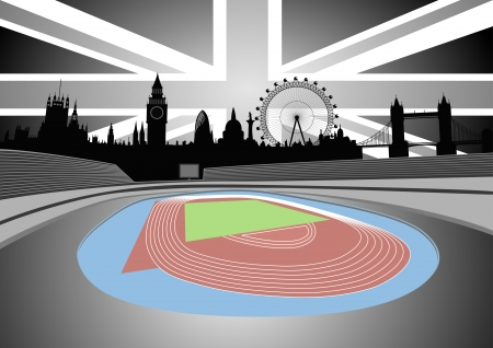 belfry: stadium with the London skyline - vector