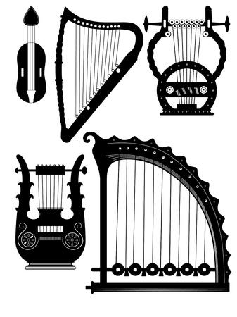 antyk: różne zabytkowe instrumenty - harfa łańcuchy Lyra - wektor Ilustracja