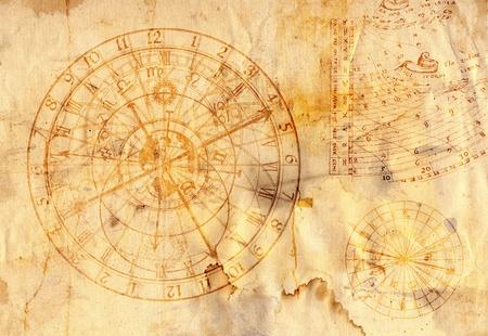 reloj de sol: Antiguo papel con el reloj atronomical en el estilo grunge