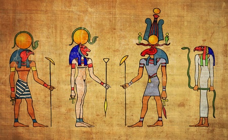 egyptian gods - wall painting