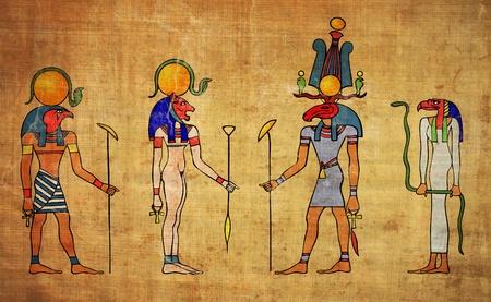 los dioses egipcios - pintura mural Editorial