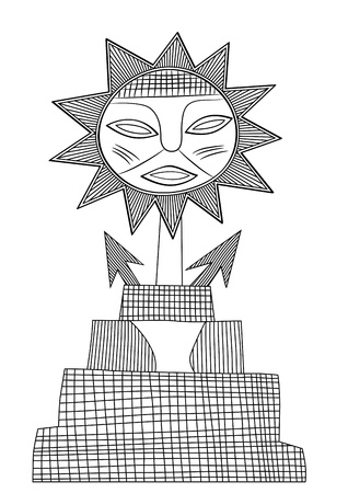 God of Sun - God of the pre-Columbian civilization - vector