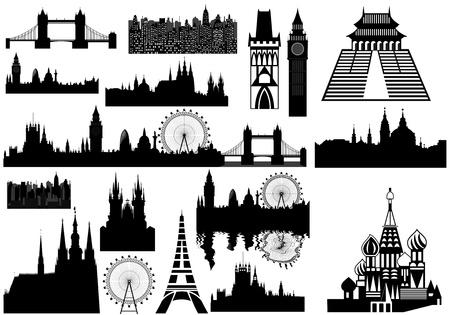 london tower bridge: Various landmarks - London, Prague, Paris, Russia - Russian Orthodox cloister Illustration