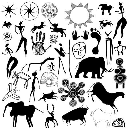 primitieve kunst - grotschilderingen Stock Illustratie