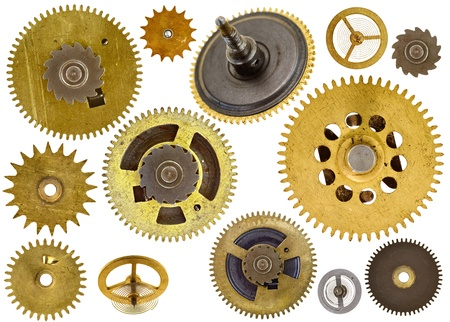 Collection of old cogwheels on white background photo