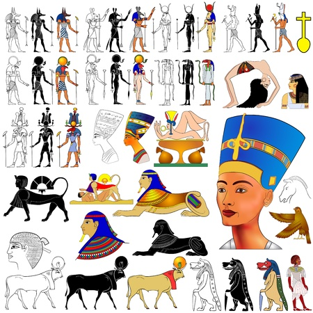 sfinx: Vector set van motieven van het oude Egypte