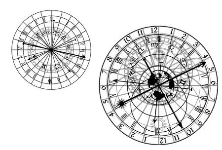 cadran solaire: horloge astronomique - vecteur