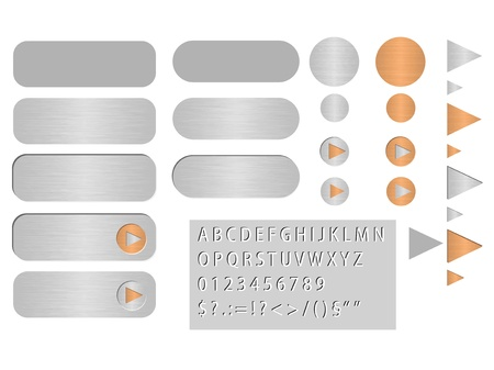 buttons looks like polished steel Stock Vector - 12351224