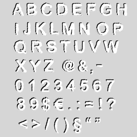iluminate: Grunge font -  alphabet and numbers - vector