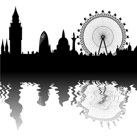 London - Big Ben, Big Wheel - Spiegelung