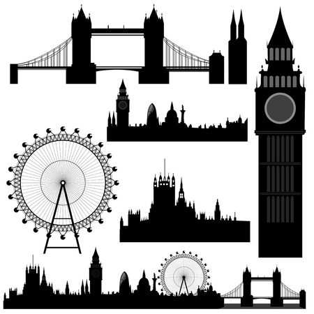 various landmarks of London - vector