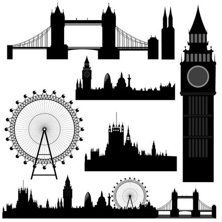 verschillende bezienswaardigheden van Londen - vector