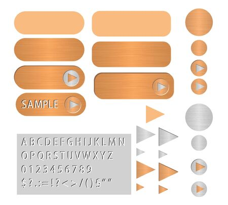 various vector buttons looks like polished copper Stock Vector - 12931520