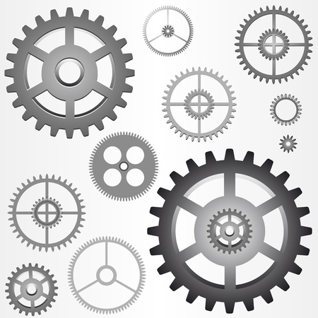 toothed: various gears - cog wheels - vector