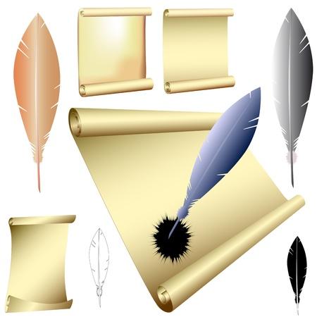 cruddy: quills and scrolls - vector Illustration