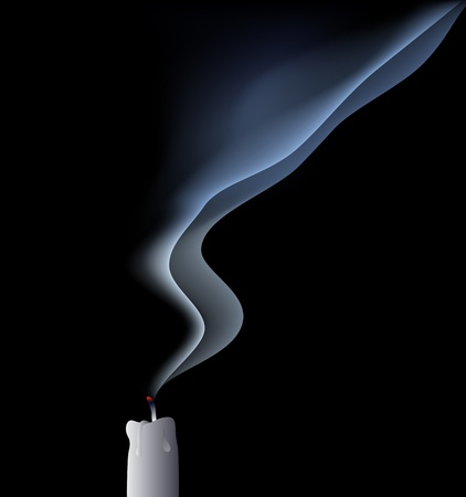 andle in draft - blown out candle - vector