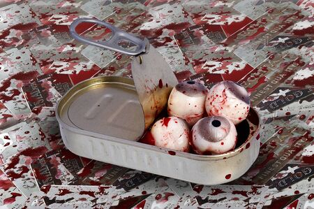 grisly: Tin Of Eyeballs - bizarre image Stock Photo