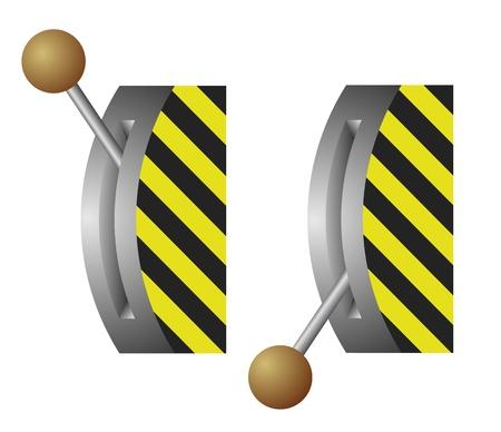 breaker: illustration of the lever switch - on-off position Illustration