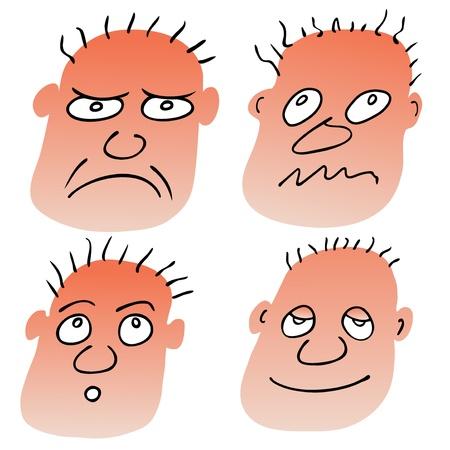 perplesso: diverse espressioni facciali