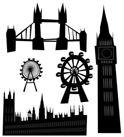 various landmarks of London Vector