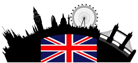 london tower bridge: Vector illustration of the London skyline Illustration
