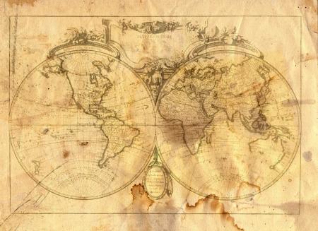 Vintage kaart van de wereld in grunge stijl