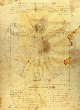 Vitruvian man in grunge style photo