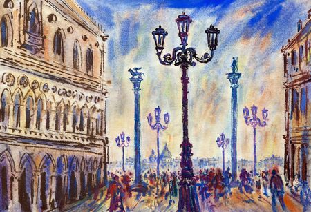 Ducal Palace - mixed media on paper