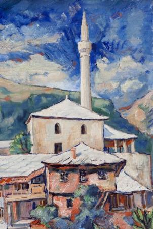 mostar: Minaret in Mostar