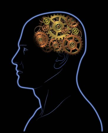 concentration gear: Gears In The Head - Brain - Intelligence - Thinking Stock Photo