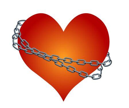 geketend: geketend hart Stock Illustratie