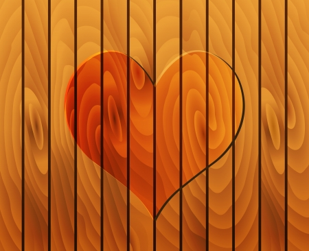 lovingly: heart on wooden texture Illustration