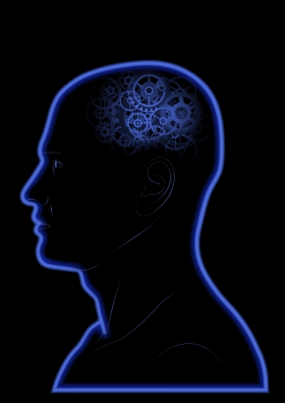 visionary: Vector Gears In The Head - Brain - Intelligence - Thinking Illustration