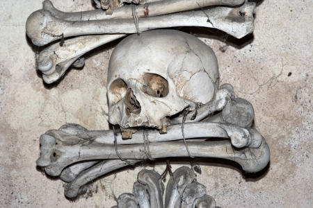 grisly: Sedlec Ossuary, Kutna Hora, Sedlec, Czech republic Stock Photo