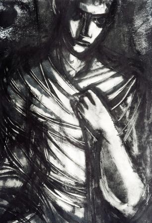 enveloping: Enveloping Darkness - monotype on paper Stock Photo