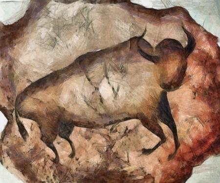 bull like primeval cave paintings Stock Photo
