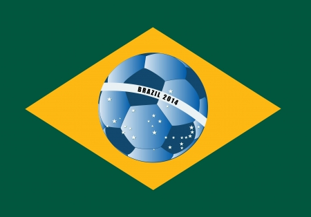 Vector Brazil flag with football ball Vector