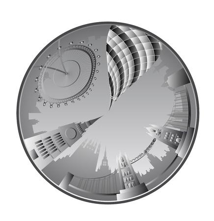 gherkin building: Vector London landmarks in wheel Illustration