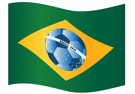 Brazil flag with football ball Vector