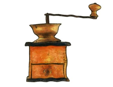 młynek do kawy: Rysunek starego młynek do kawy Zdjęcie Seryjne