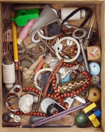 shambles: Various objects in old wood drawer - detail