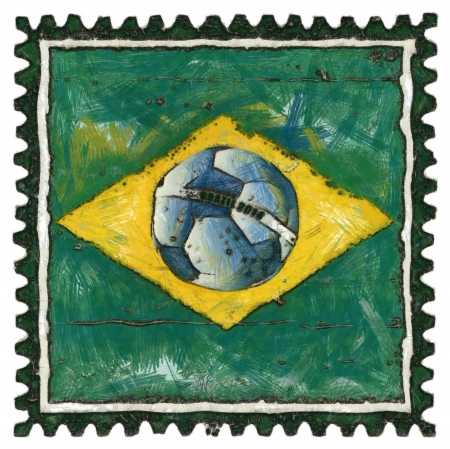 Brazil flag with ball like stamp in grunge style