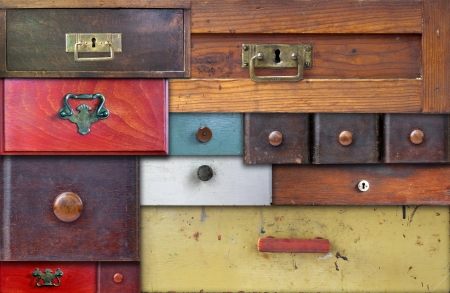 old furniture: various old drawers - in utter secrecy