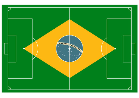 Vector football field with ball looks like Brazilian flag Vector